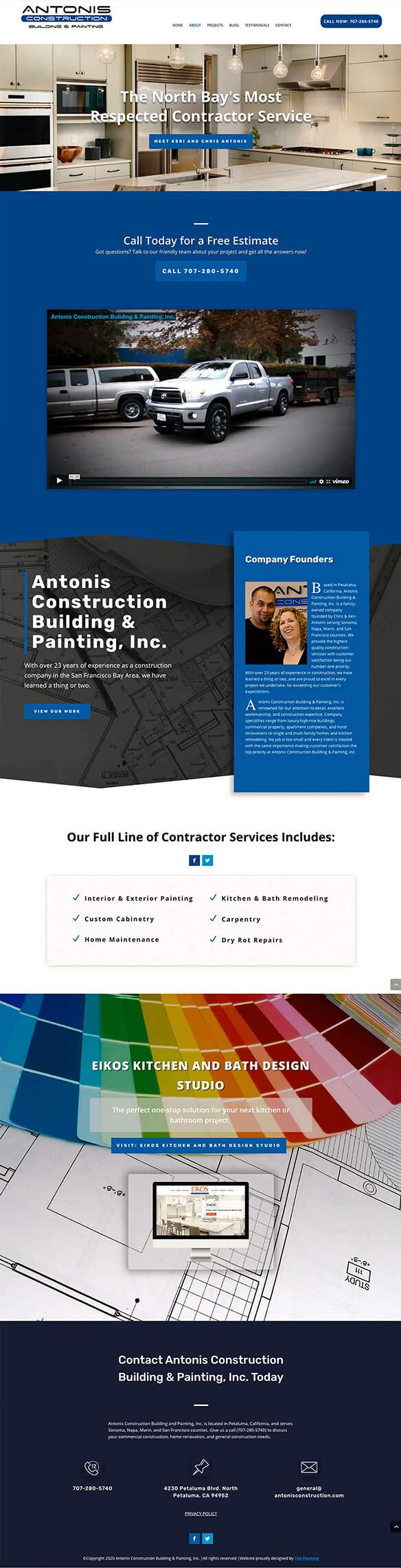 Antonis Construction home page mockup