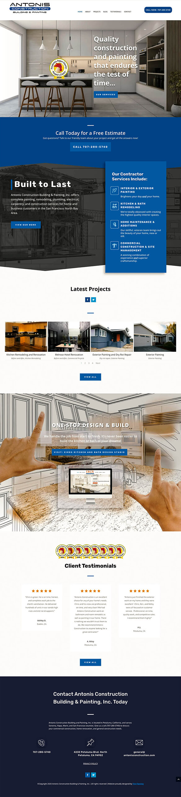 Antonis Construction page mockup